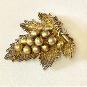 Sterling & Gold Vermeil Grapes Leaf Brooch
